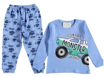 Пижама детская машинка голубая 1/3 года 316113